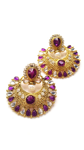 Stone Studded Ramleela Earrings, Purple
