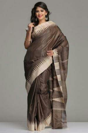 Tassar Ghicha Silk Handwoven Sari, Chocolate Brown - SharePyar