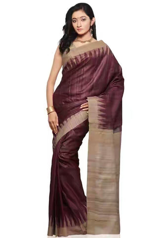 Tassar Ghicha Silk Saree, Onion - SharePyar