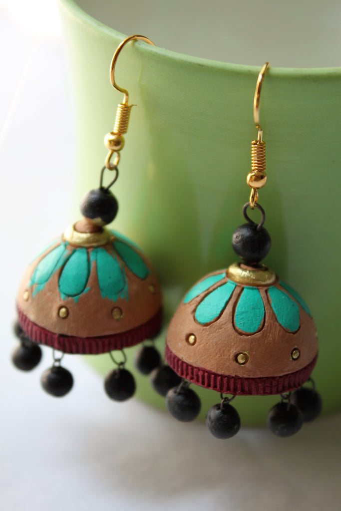 Terracotta Sea Green Casual Jhumka - Jewellery - SharePyar
