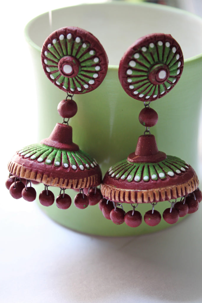 Terracotta Jhumka, Maroon Green - Jewellery - SharePyar