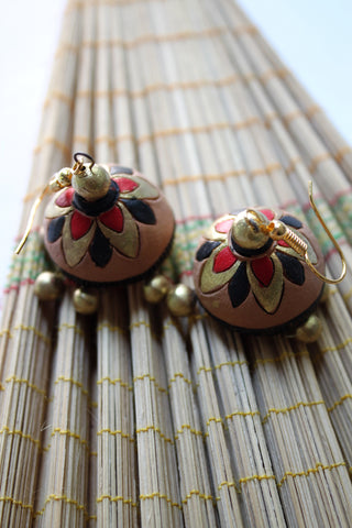Terracotta Golden Jhumka, Flower Pattern - SharePyar