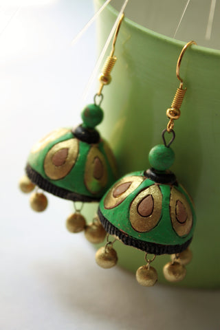 Terracotta Green Jhumka - SharePyar