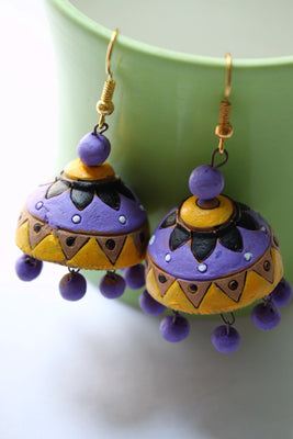 Terracotta Jhumka, Purple and Yellow - Jewellery - SharePyar