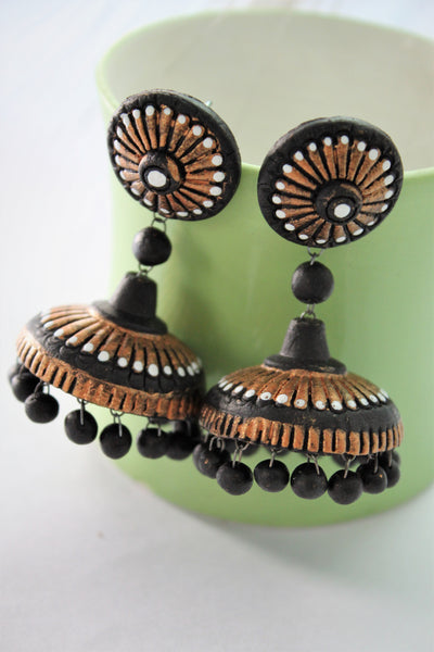 Terracotta Jhumka, Stud and Dangler, Set of 3 Earrings