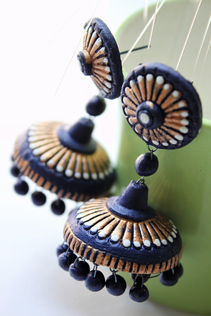 Indigo Blue and Golden Terracotta Jhumka - Jewellery - SharePyar