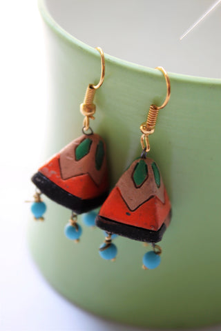 Terracotta Pyramid Jhumka, Orange - SharePyar