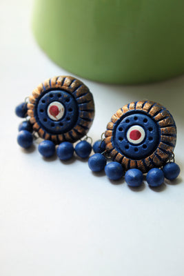 Terracotta Studs, Blue - Jewellery - SharePyar