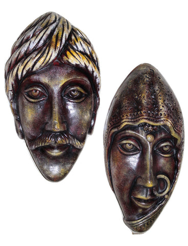 Terracotta Wall Hanging Rajasthani couple face - Showpiece - Crafts - SharePyar
