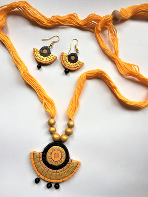 Terracotta Yellow Semicircular Pendant Set - Jewellery - SharePyar