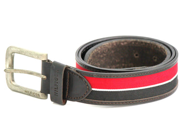 Tommy Hilfiger Leather Belt - Red & Black - Belts - SharePyar