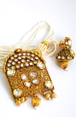 Traditional Gold Plated Kundan Necklace Earring Set - Jewellery - SharePyar
