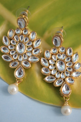 Traditional Kundan Drop Earrings - SharePyar - 1