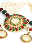 Traditional Multicolour Gold Plated Pearl Necklace Set