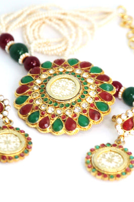 Traditional Multicolour Gold Plated Pearl Necklace Set - Jewellery - SharePyar