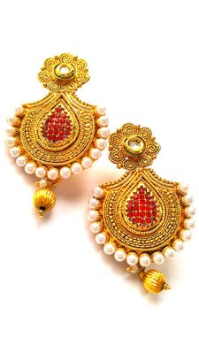Traditional Polki Drop Earrings - Jewellery - SharePyar