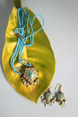 Traditional Sky Blue Pendant Set - SharePyar - 1