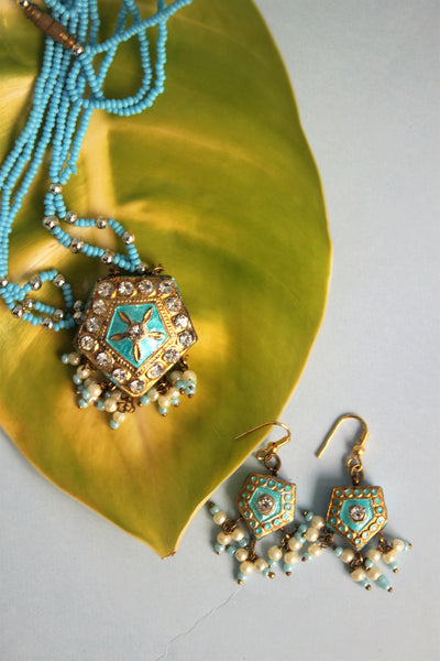 Traditional Sky Blue Pendant Set - SharePyar - 2