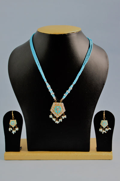 Traditional Sky Blue Pendant Set - SharePyar - 4