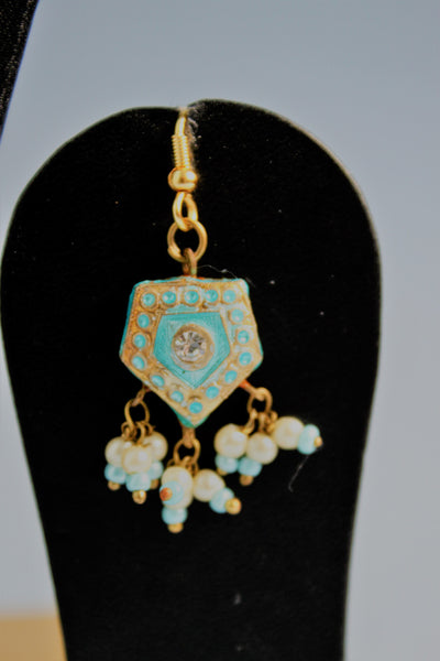 Traditional Sky Blue Pendant Set - SharePyar - 5