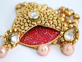 Trendy Gold Plated Kundan Necklace Set - SharePyar