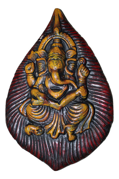 Wall Hanging Terracotta Ganesha on Pipal Leaf - SharePyar