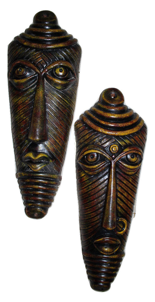 Wall Hanging Terracotta Tribal Face Set ( 46 cm) - Red & Yellow Finish - Crafts - SharePyar