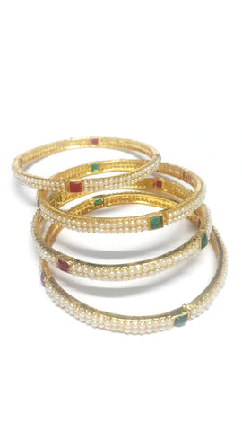 White Pearl Polki Bangles - Set of 4 - SharePyar - 1