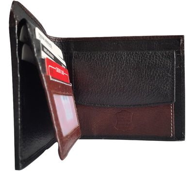 Woods Genuine Leather Two Fold Three Layered Wallet, Black/Dark Brown - Wallets - SharePyar
