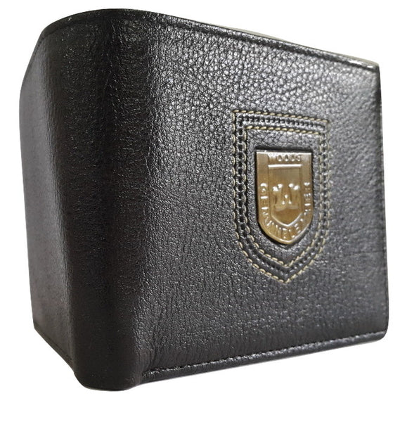 Woods Genuine Leather Two Fold Wallet, Black - SharePyar - 2