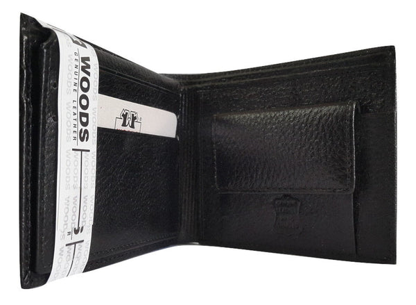 Woods Genuine Leather Two Fold Wallet, Black - SharePyar - 3