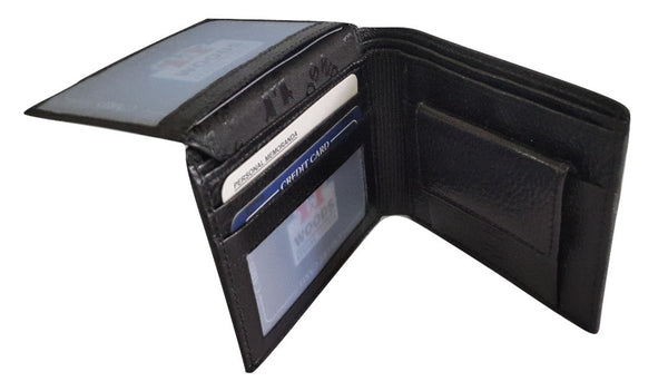 Woods Genuine Leather Two Fold Wallet, Black - SharePyar - 1