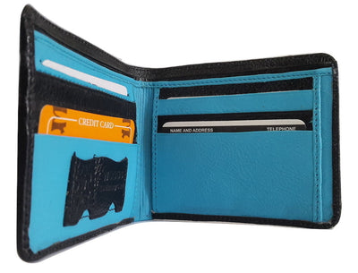 Woods Genuine Leather Bi-Fold Wallet, Black/Blue (With Pouch for SIM or Memory Card) - Wallets - SharePyar
