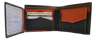 Woods Genuine Leather Two Fold Wallet, Black/Orange Brown - Wallets - SharePyar