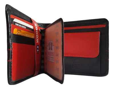 Woods Genuin Leather Two Fold Wallet, Black / Red - SharePyar - 1