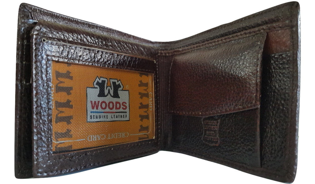 Woods Genuine Leather Two Fold Wallet, Brown - SharePyar - 1