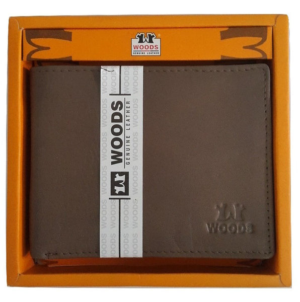 Woods Genuin Leather Two Fold Wallet, Chocolate - SharePyar - 2