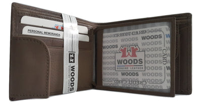 Woods Genuin Leather Two Fold Wallet, Chocolate - Wallets - SharePyar