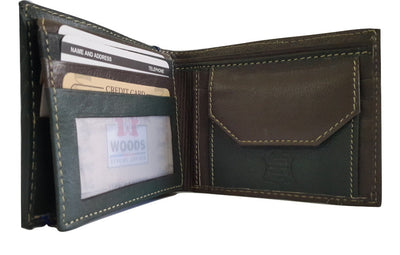 Woods Genuine Leather Two Fold Wallet, Olive Green/Dark Brown - Wallets - SharePyar