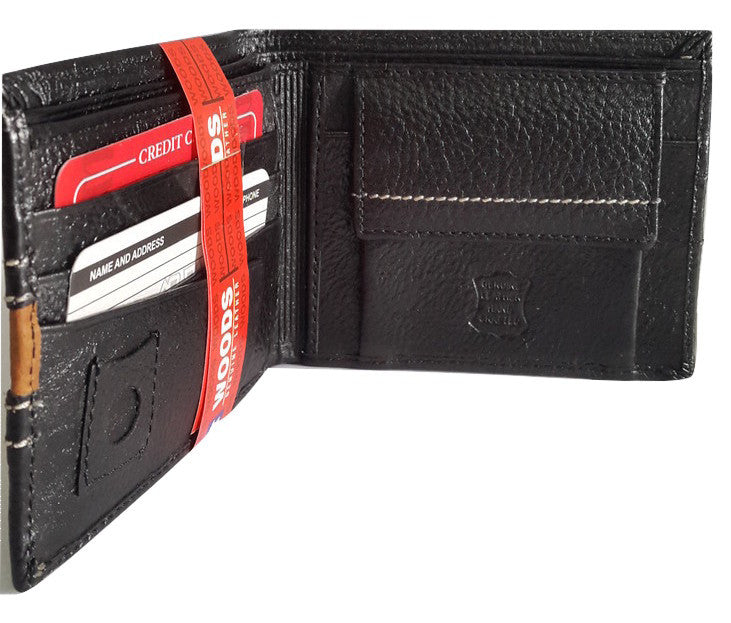 Woods Genuine Leather Two Fold Wallet, Rugged Finish, Black - SharePyar - 1