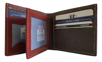 Woods Genuine Leather Two Fold Wallet,Dark Chocolate/ Dark Red - Wallets - SharePyar
