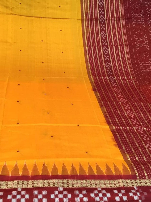 Yellow Dhadi Border Sapta Sambalpuri IKAT Silk Saree - SharePyar - 1