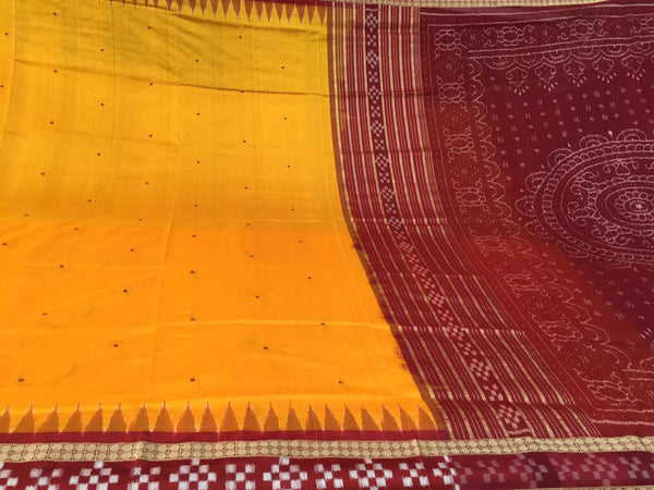 Yellow Dhadi Border Sapta Sambalpuri IKAT Silk Saree - SharePyar - 6