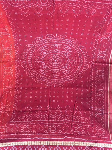 Yellow Dhadi Border Sapta Sambalpuri IKAT Silk Saree - SharePyar - 3