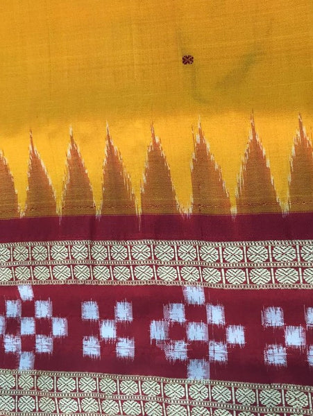 Yellow Dhadi Border Sapta Sambalpuri IKAT Silk Saree - SharePyar - 2