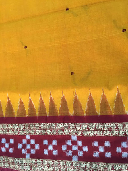 Yellow Dhadi Border Sapta Sambalpuri IKAT Silk Saree - SharePyar - 5