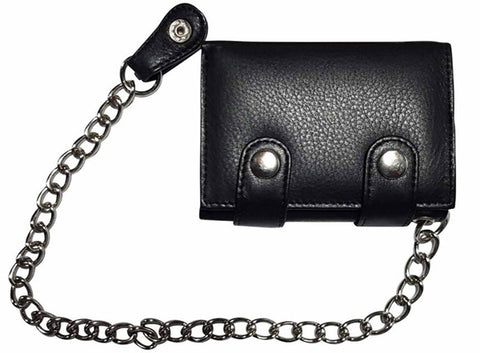Genuine Leather Chain Wallet Black