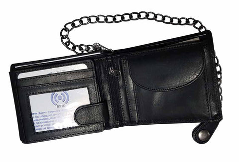 Biker Chain Wallet Black Genuine Leather