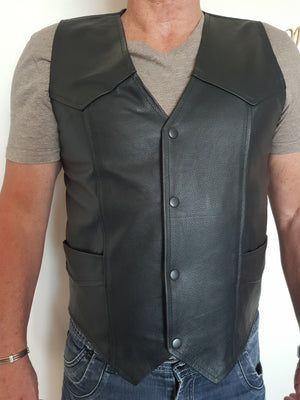 Genuine Leather Full Grain Motorcycle Vest-SIZE 3XL-Last One Absolute Bargain!