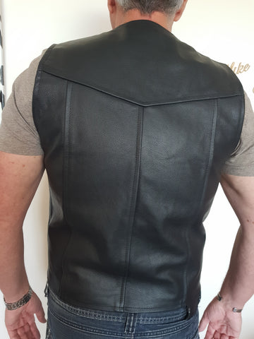 Image of Genuine Leather Full Grain Motorcycle Vest-SIZE 3XL-Last One Absolute Bargain!